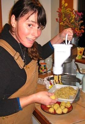 Roni making Bucatini pasta.